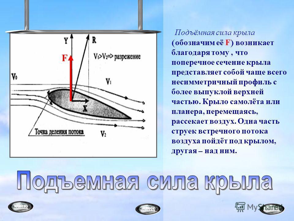 Подъёмная сила крыла ( обозначим её F) возникает благодаря тому, что поперечное сечение крыла представляет собой чаще всего несимметричный профиль с более выпуклой верхней частью. Крыло самолёта или планера, перемещаясь, рассекает воздух. Одна часть