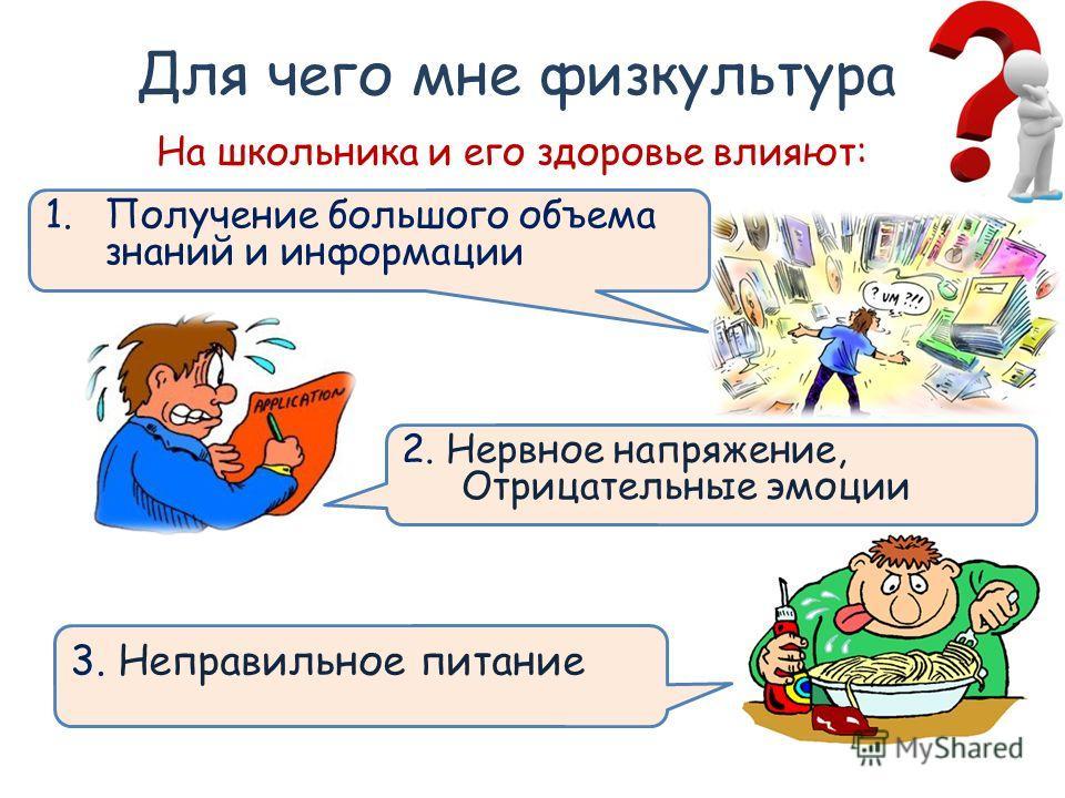Для чего мне физкультура 1.Получение большого объема знаний и информации На школьника и его здоровье влияют: 2. Нервное напряжение, Отрицательные эмоции 3. Неправильное питание
