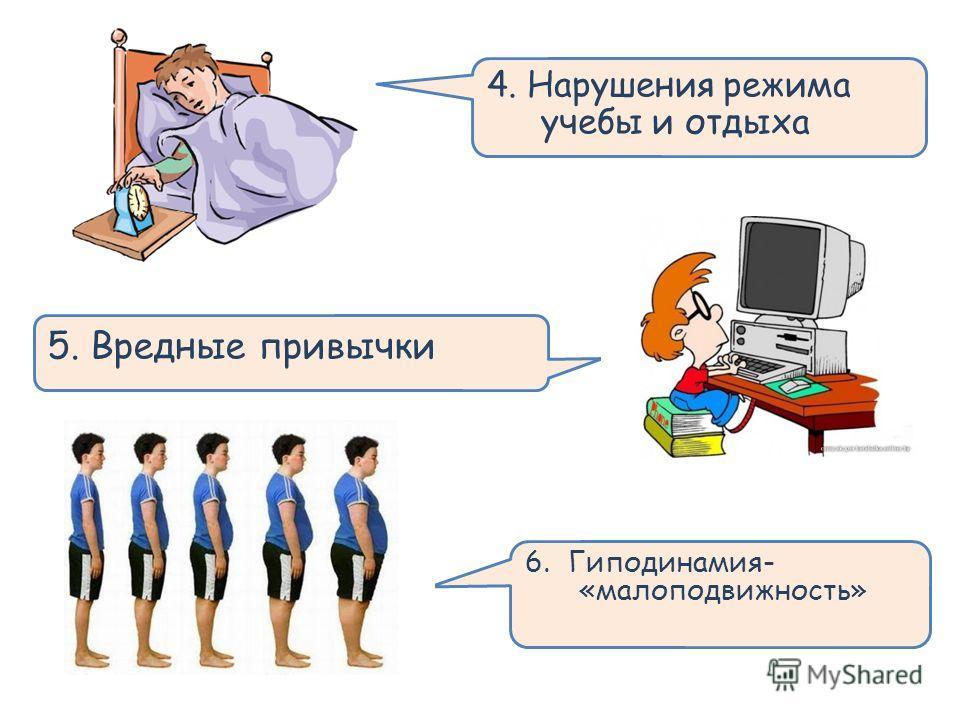 . 6. Гиподинамия- «малоподвижность» 5. Вредные привычки 4. Нарушения режима учебы и отдыха