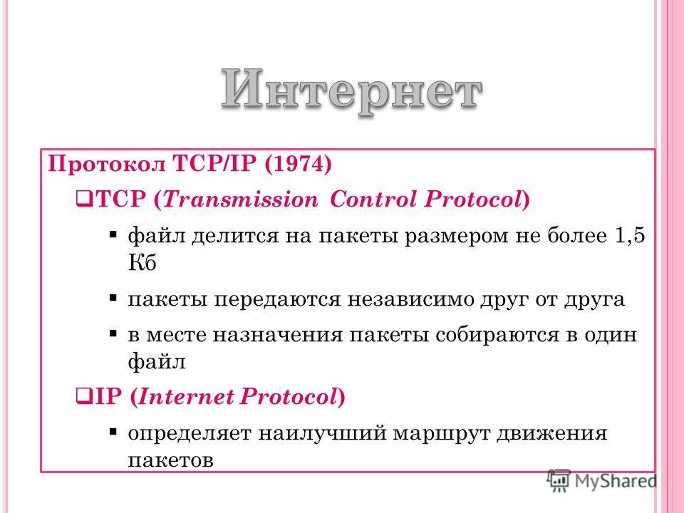 Протокол TCP/IP (1974) TCP ( Transmission Control Protocol ) файл делится на пакеты размером не более 1,5 Кб пакеты передаются независимо друг от друга в месте назначения пакеты собираются в один файл IP ( Internet Protocol ) определяет наилучший мар