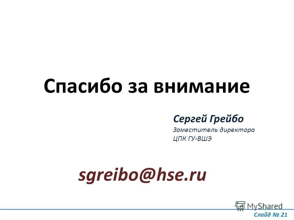 Слайд 21 Спасибо за внимание Сергей Грейбо Заместитель директора ЦПК ГУ-ВШЭ sgreibo@hse.ru