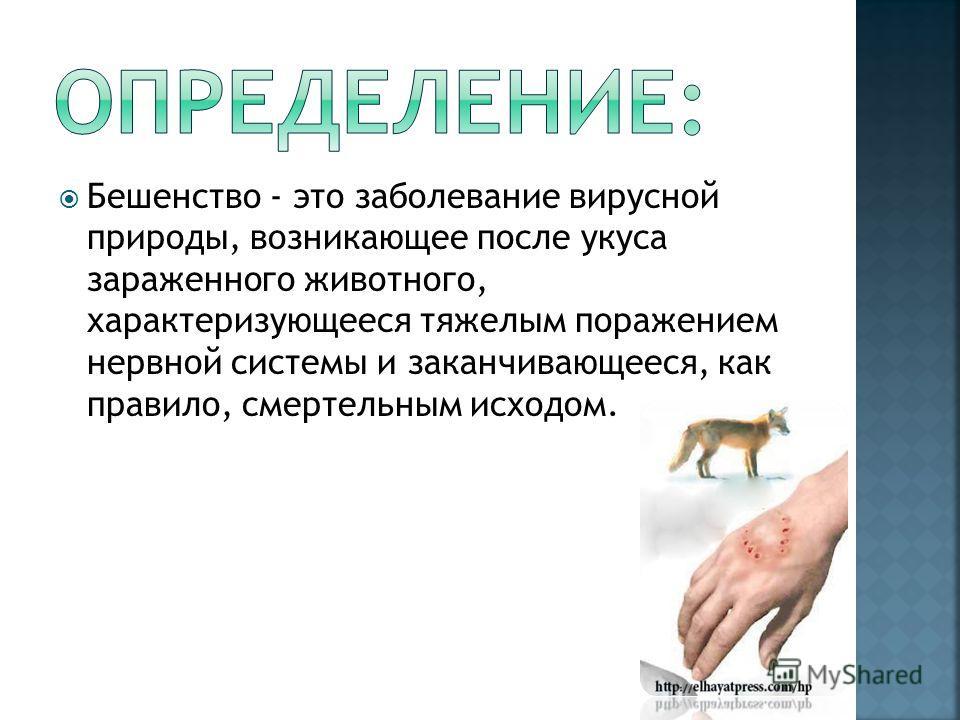 Бешенство - это заболевание вирусной природы, возникающее после укуса зараженного животного, характеризующееся тяжелым поражением нервной системы и заканчивающееся, как правило, смертельным исходом.