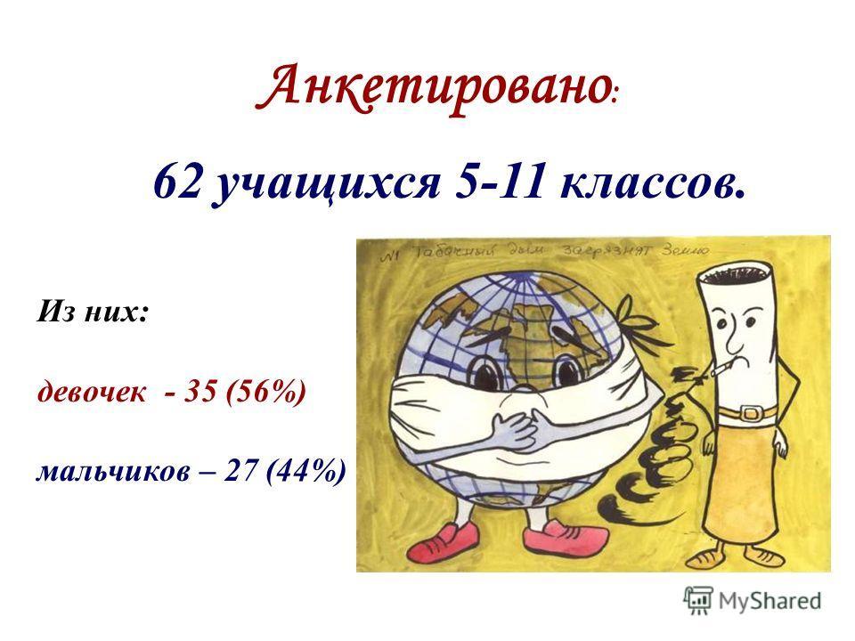Анкетировано : 62 учащихся 5-11 классов. Из них: девочек - 35 (56%) мальчиков – 27 (44%)