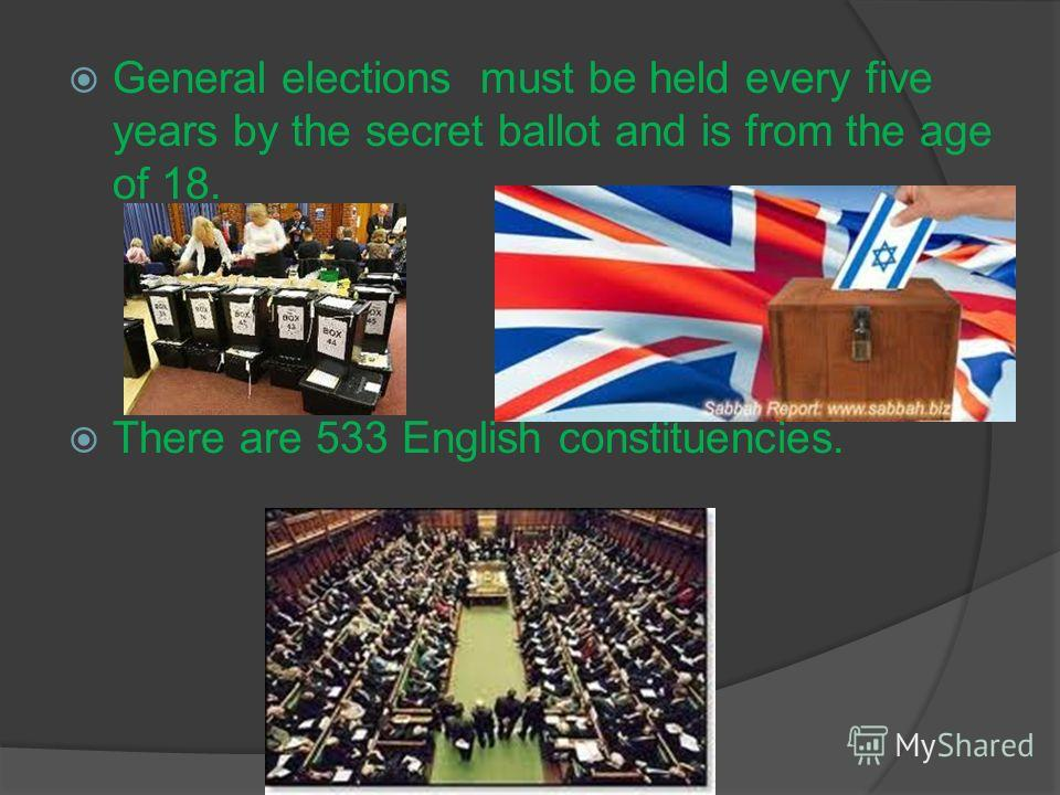 General elections must be held every five years by the secret ballot and is from the age of 18. There are 533 English constituencies.