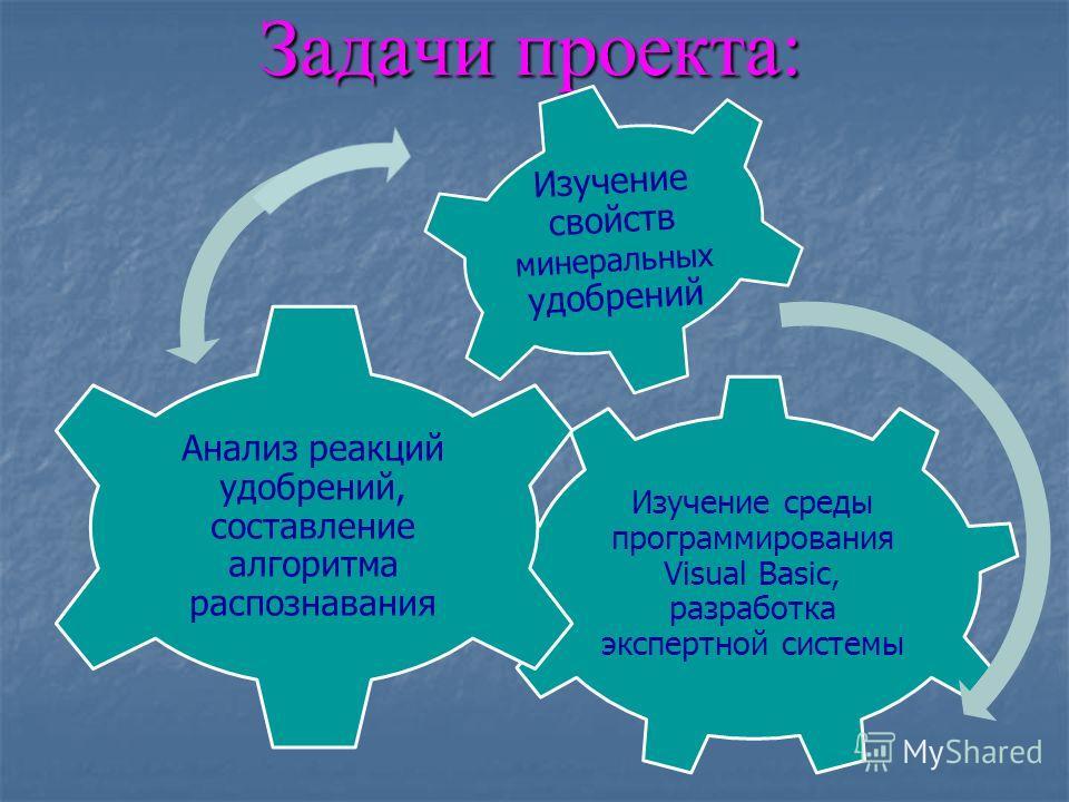 Задачи проекта: Изучение среды программирования Visual Basic, разработка экспертной системы Анализ реакций удобрений, составление алгоритма распознавания Изучение свойств минеральных удобрений