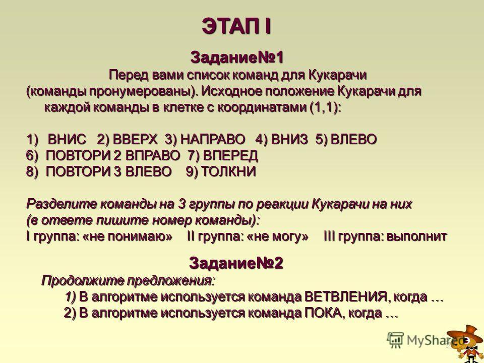 ЭТАП I Задание1 Перед вами список команд для Кукарачи (команды пронумерованы). Исходное положение Кукарачи для каждой команды в клетке с координатами (1,1): 1) ВНИС 2) ВВЕРХ 3) НАПРАВО 4) ВНИЗ 5) ВЛЕВО 6) ПОВТОРИ 2 ВПРАВО 7) ВПЕРЕД 8) ПОВТОРИ 3 ВЛЕВО