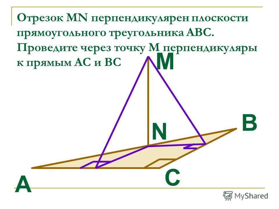 Отрезок MN перпендикулярен плоскости прямоугольного треугольника АВС. Проведите через точку М перпендикуляры к прямым АС и ВС C B A M N
