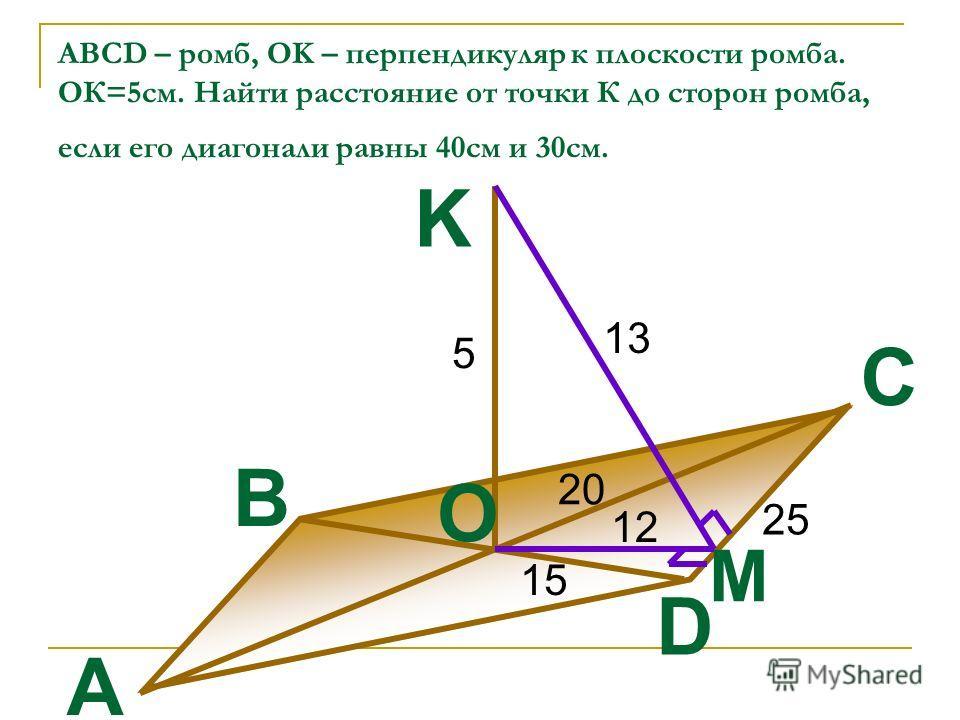 ABCD – ромб, OK – перпендикуляр к плоскости ромба. ОК=5см. Найти расстояние от точки К до сторон ромба, если его диагонали равны 40см и 30см. 20 15 5 25 12 13 M A D C B O K