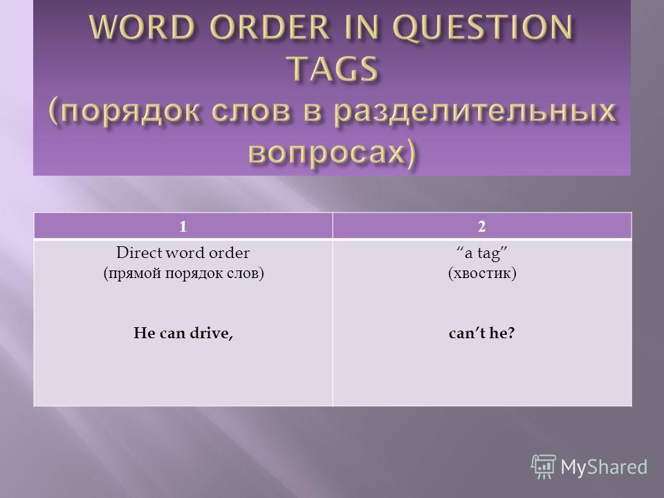 12 Direct word order ( прямой порядок слов ) He can drive, a tag ( хвостик ) cant he?