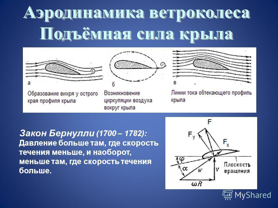 Закон Бернулли (1700 – 1782): Давление больше там, где скорость течения меньше, и наоборот, меньше там, где скорость течения больше.