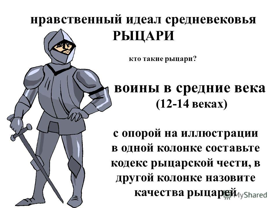 нравственный идеал средневековья РЫЦАРИ кто такие рыцари? воины в средние века (12-14 веках) с опорой на иллюстрации в одной колонке составьте кодекс рыцарской чести, в другой колонке назовите качества рыцарей