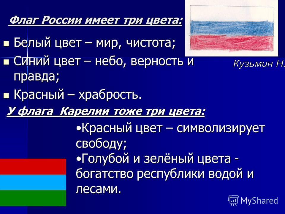 Флаг России имеет три цвета: Белый цвет – мир, чистота; Белый цвет – мир, чистота; Синий цвет – небо, верность и правда; Синий цвет – небо, верность и правда; Красный – храбрость. Красный – храбрость. У флага Карелии тоже три цвета: У флага Карелии т