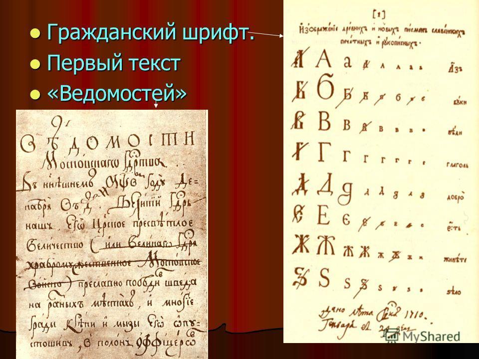 Гражданский шрифт. Гражданский шрифт. Первый текст Первый текст «Ведомостей» «Ведомостей»