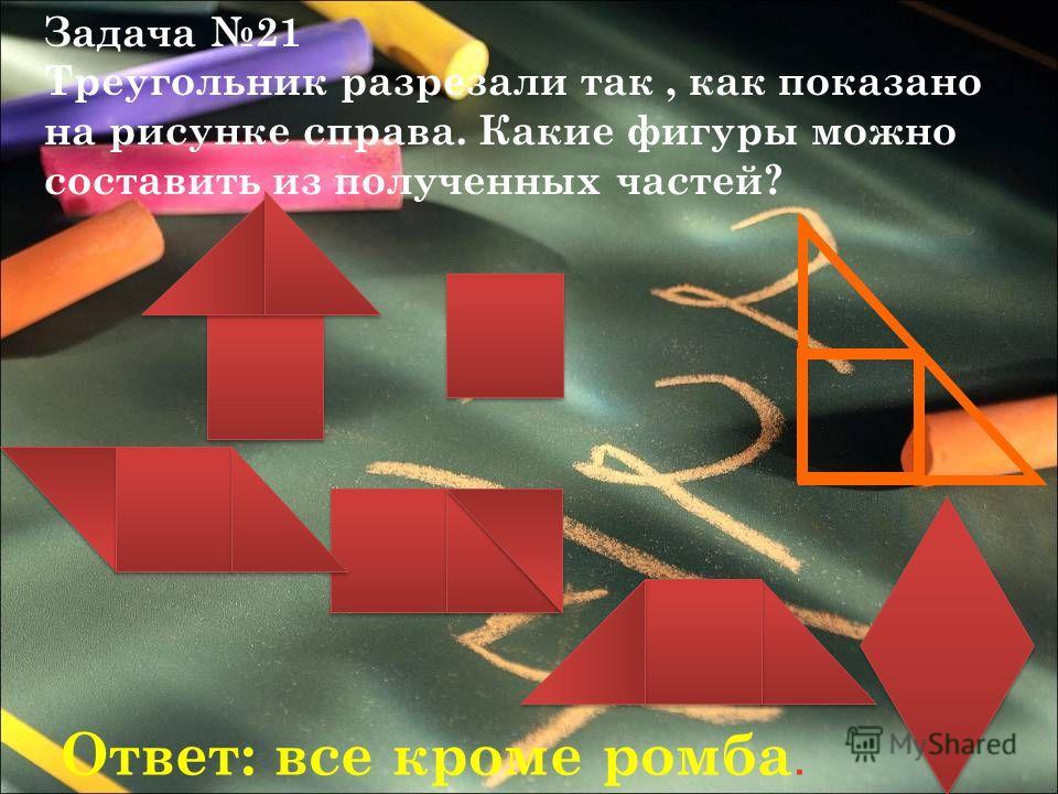 Задача 21 Треугольник разрезали так, как показано на рисунке справа. Какие фигуры можно составить из полученных частей? Ответ: все кроме ромба.