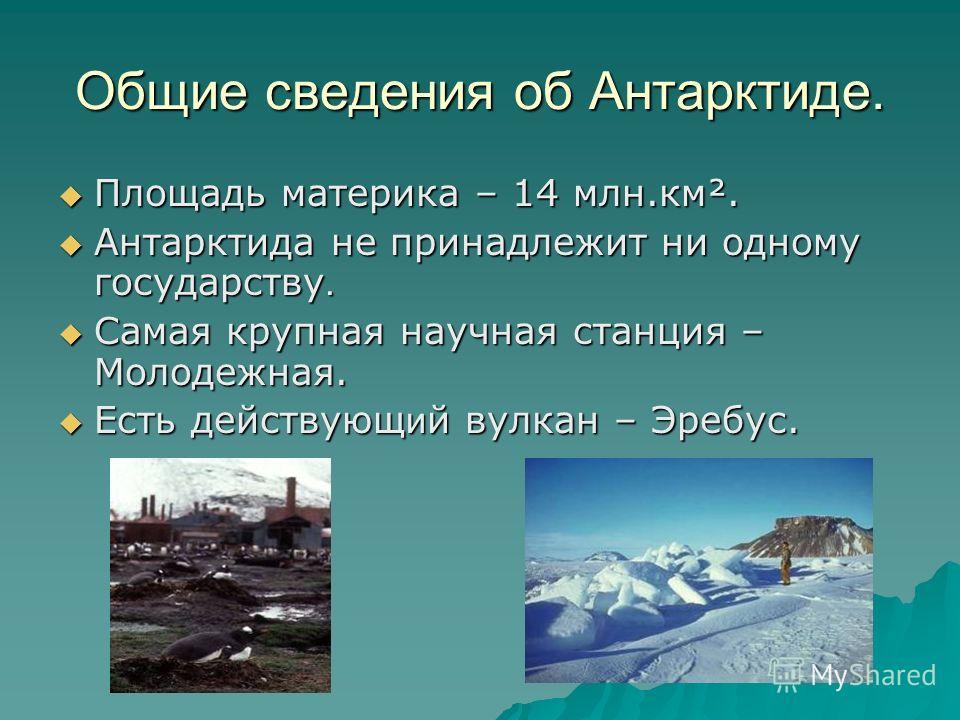 Общие сведения об Антарктиде. Площадь материка – 14 млн.км². Площадь материка – 14 млн.км². Антарктида не принадлежит ни одному государству. Антарктида не принадлежит ни одному государству. Самая крупная научная станция – Молодежная. Самая крупная на