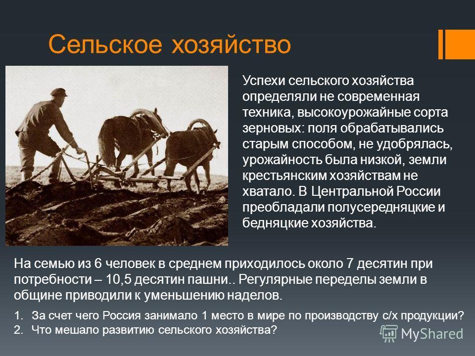 Сельское хозяйство Успехи сельского хозяйства определяли не современная техника, высокоурожайные сорта зерновых: поля обрабатывались старым способом, не удобрялась, урожайность была низкой, земли крестьянским хозяйствам не хватало. В Центральной Росс