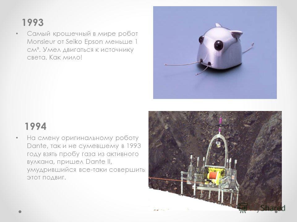 1993 Самый крошечный в мире робот Monsieur от Seiko Epson меньше 1 см³. Умел двигаться к источнику света. Как мило! 1994 На смену оригинальному роботу Dante, так и не сумевшему в 1993 году взять пробу газа из активного вулкана, пришел Dante II, умудр