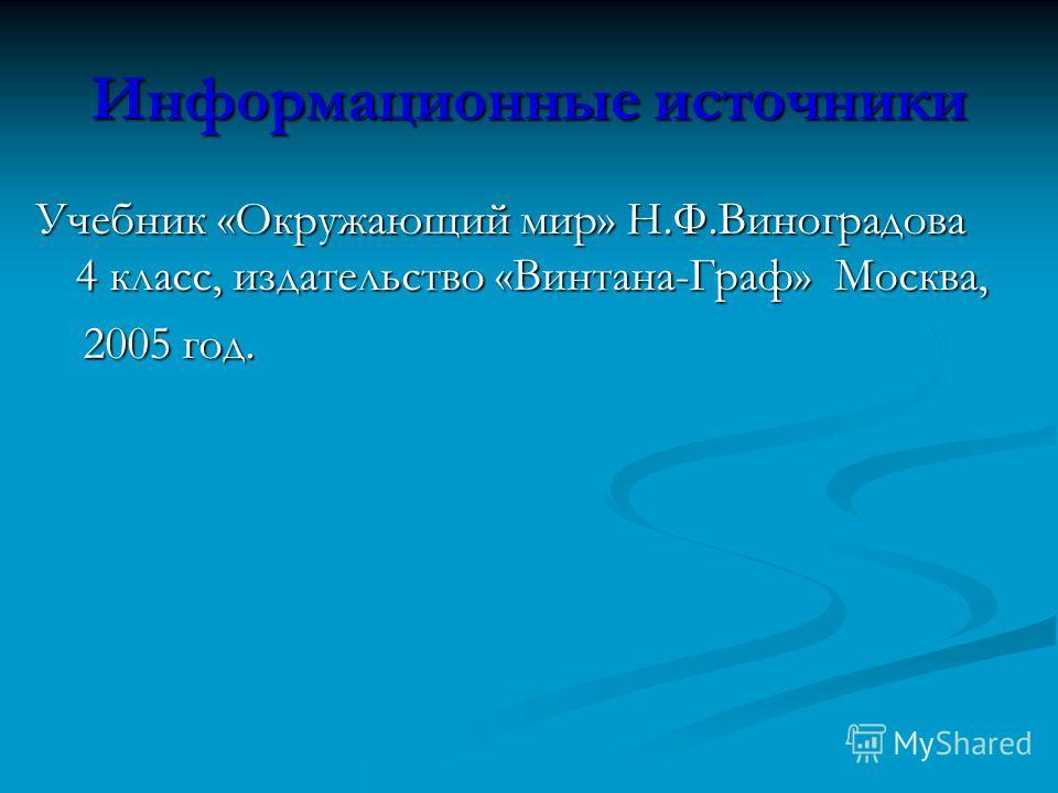 Информационные источники Учебник «Окружающий мир» Н.Ф.Виноградова 4 класс, издательство «Винтана-Граф» Москва, 2005 год. 2005 год.
