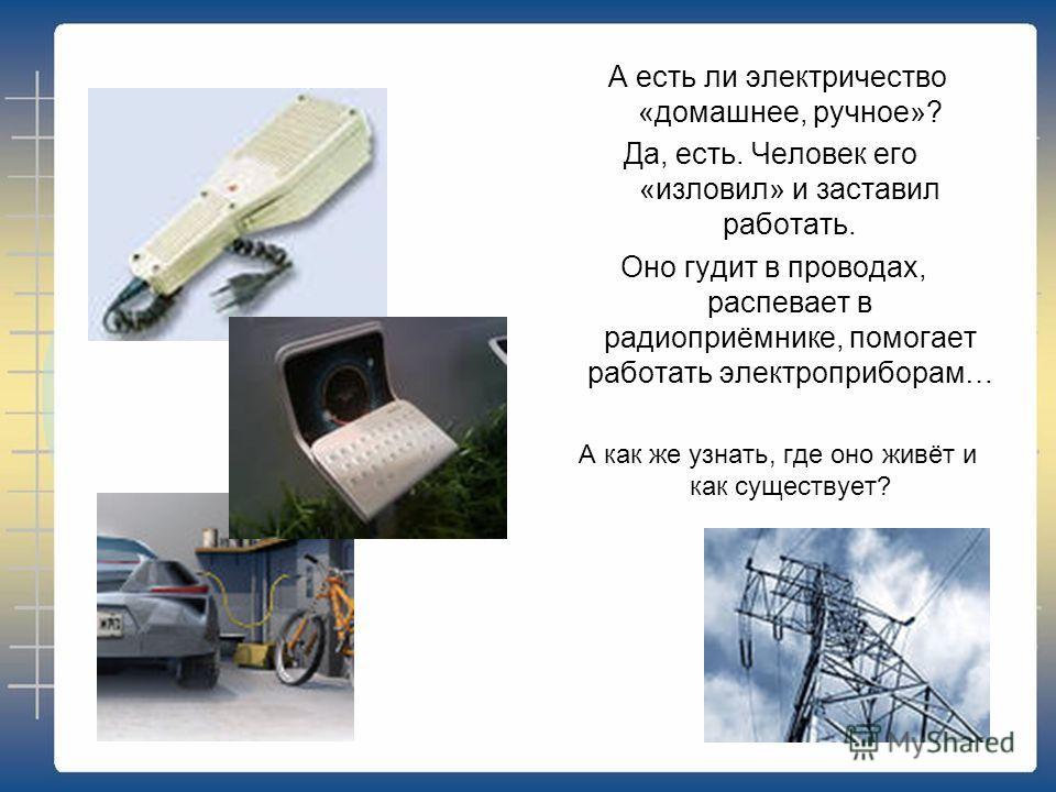 А есть ли электричество «домашнее, ручное»? Да, есть. Человек его «изловил» и заставил работать. Оно гудит в проводах, распевает в радиоприёмнике, помогает работать электроприборам… А как же узнать, где оно живёт и как существует?