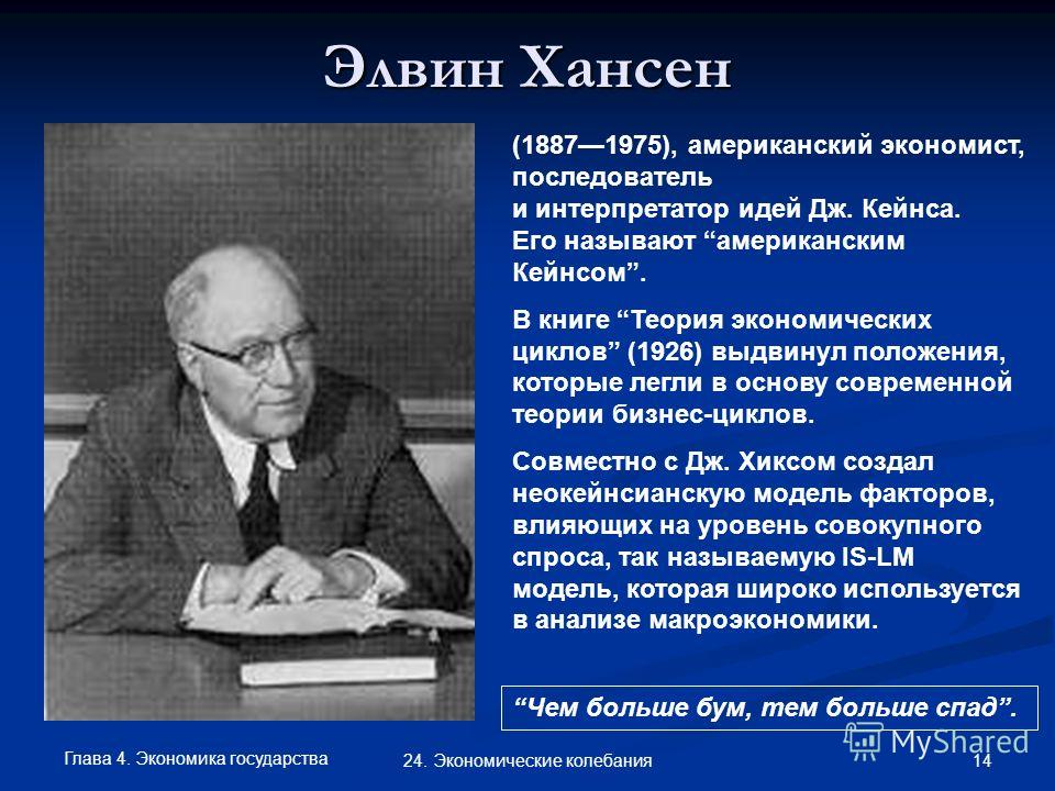 Глава 4. Экономика государства 14 24. Экономические колебания Элвин Хансен (18871975), американский экономист, последователь и интерпретатор идей Дж. Кейнса. Его называют американским Кейнсом. В книге Теория экономических циклов (1926) выдвинул полож