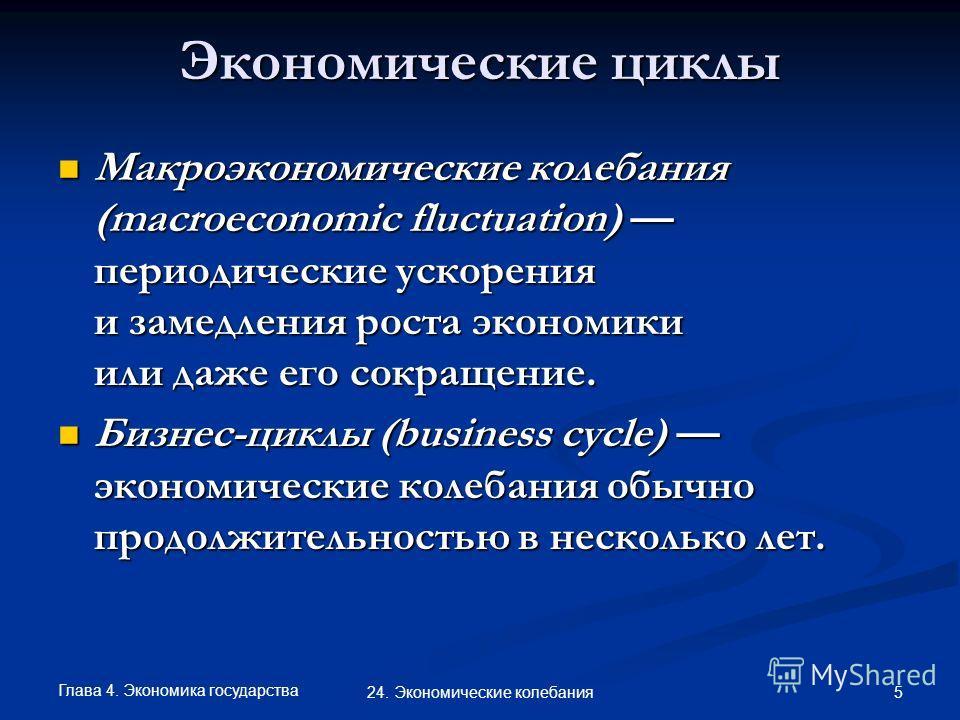 Глава 4. Экономика государства 5 24. Экономические колебания Макроэкономические колебания (macroeconomic fluctuation) периодические ускорения и замедления роста экономики или даже его сокращение. Макроэкономические колебания (macroeconomic fluctuatio