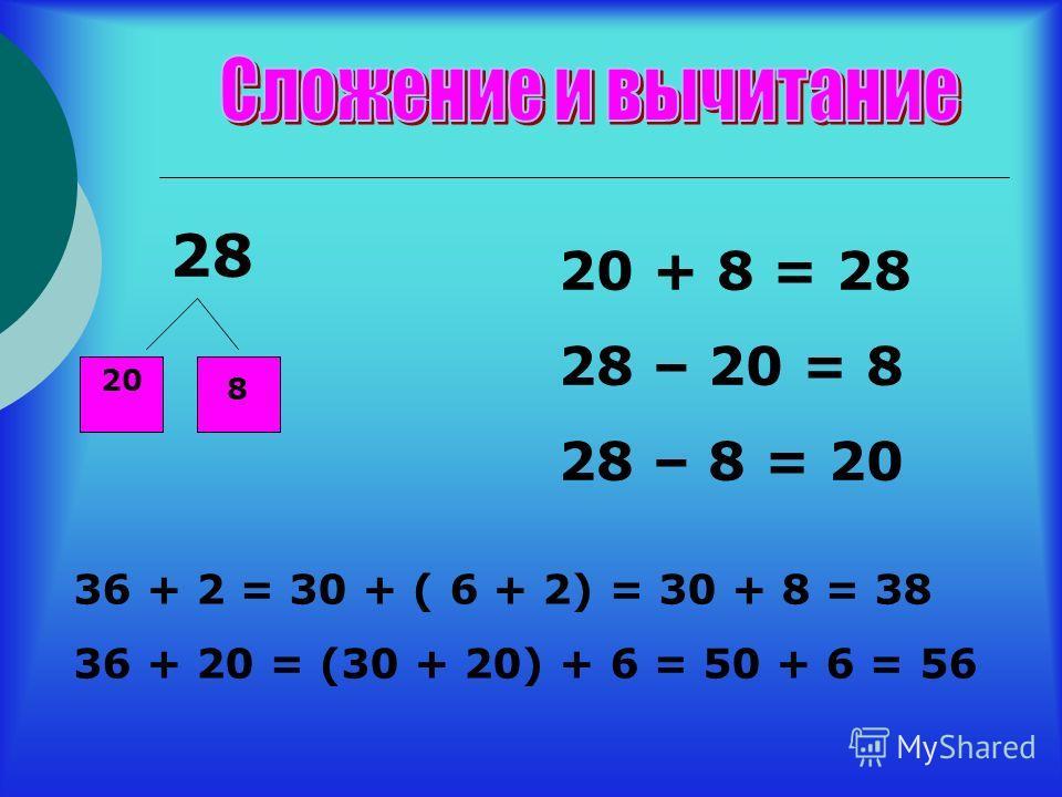 28 20 8 20 + 8 = 28 28 – 20 = 8 28 – 8 = 20 36 + 2 = 30 + ( 6 + 2) = 30 + 8 = 38 36 + 20 = (30 + 20) + 6 = 50 + 6 = 56