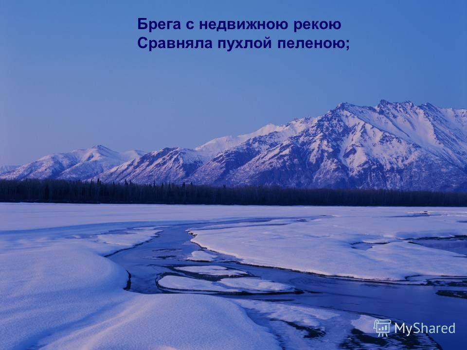 Брега с недвижною рекою Сравняла пухлой пеленою;