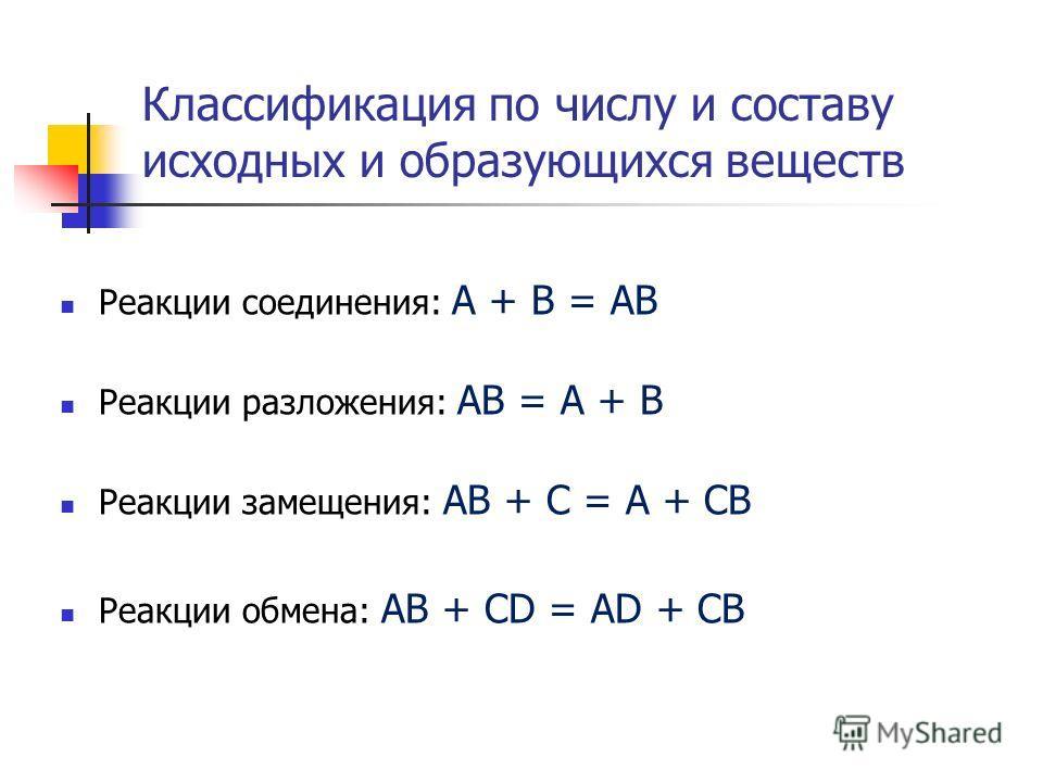 Классификация по числу и составу исходных и образующихся веществ Реакции соединения: А + В = АВ Реакции разложения: АВ = А + В Реакции замещения: АВ + С = А + СВ Реакции обмена: АВ + CD = AD + CB