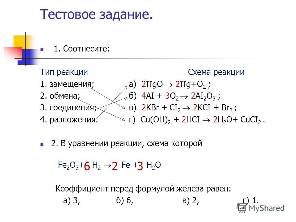 Тестовое задание. 1. Соотнесите: Тип реакции Схема реакции 1. замещения; а) 2 gO 2 g+O 2 ; 2. обмена;б) 4AI + 3O 2 2AI 2 O 3 ; 3. соединения;в) 2KBr + CI 2 2KCI + Br 2 ; 4. разложения.г) Сu(OH) 2 + 2HCI 2H 2 O+ CuCI 2. 2. В уравнении реакции, схема к