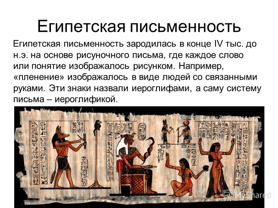 Египетская письменность Египетская письменность зародилась в конце IV тыс. до н.э. на основе рисуночного письма, где каждое слово или понятие изображалось рисунком. Например, «пленение» изображалось в виде людей со связанными руками. Эти знаки назвал