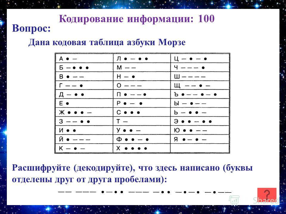 Кодирование информации: 100 Вопрос: Дана кодовая таблица азбуки Морзе Расшифруйте (декодируйте), что здесь написано (буквы отделены друг от друга пробелами):