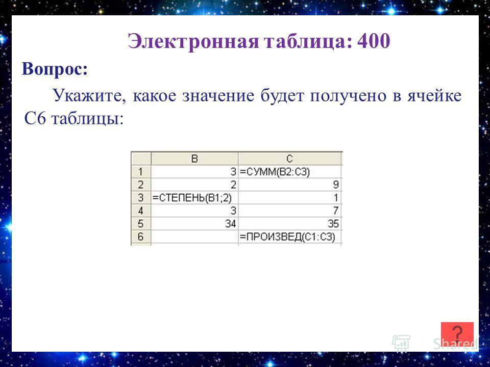 Электронная таблица: 400 Вопрос: Укажите, какое значение будет получено в ячейке C6 таблицы: