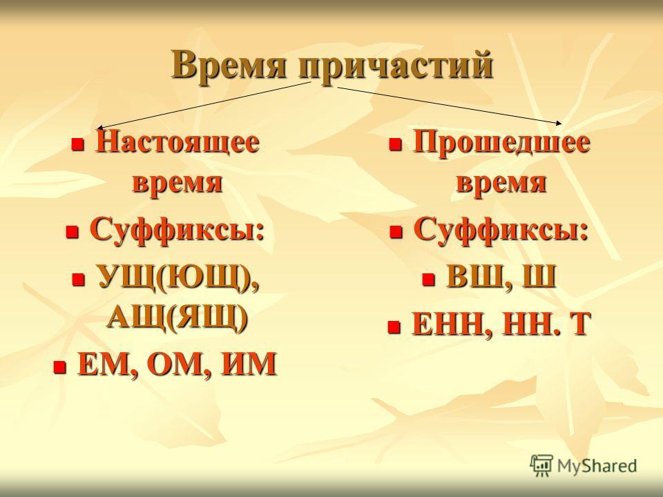 Время причастий Настоящее время Суффиксы: УЩ(ЮЩ), АЩ(ЯЩ) ЕМ, ОМ, ИМ Прошедшее время Суффиксы: ВШ, Ш ЕНН, НН. Т