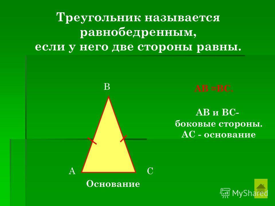 Треугольник называется равнобедренным, если у него две стороны равны. А В С Основание АВ =ВС. АВ и ВС- боковые стороны. АС - основание