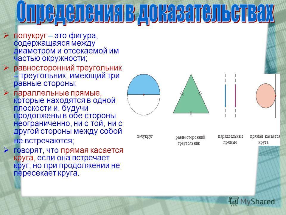 полукруг – это фигура, содержащаяся между диаметром и отсекаемой им частью окружности; равносторонний треугольник – треугольник, имеющий три равные стороны; параллельные прямые, которые находятся в одной плоскости и, будучи продолжены в обе стороны н