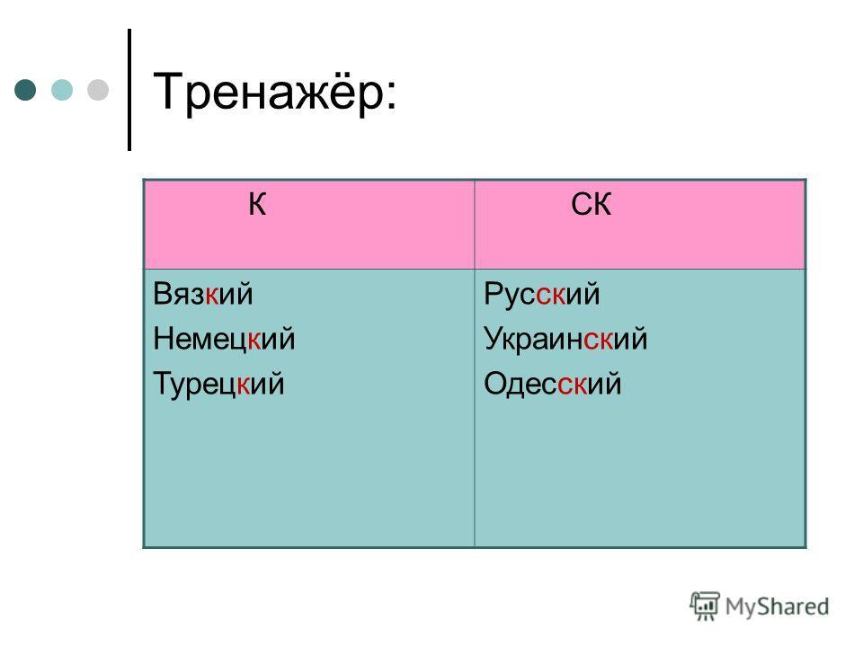 Тренажёр: К СК Вязкий Немецкий Турецкий Русский Украинский Одесский