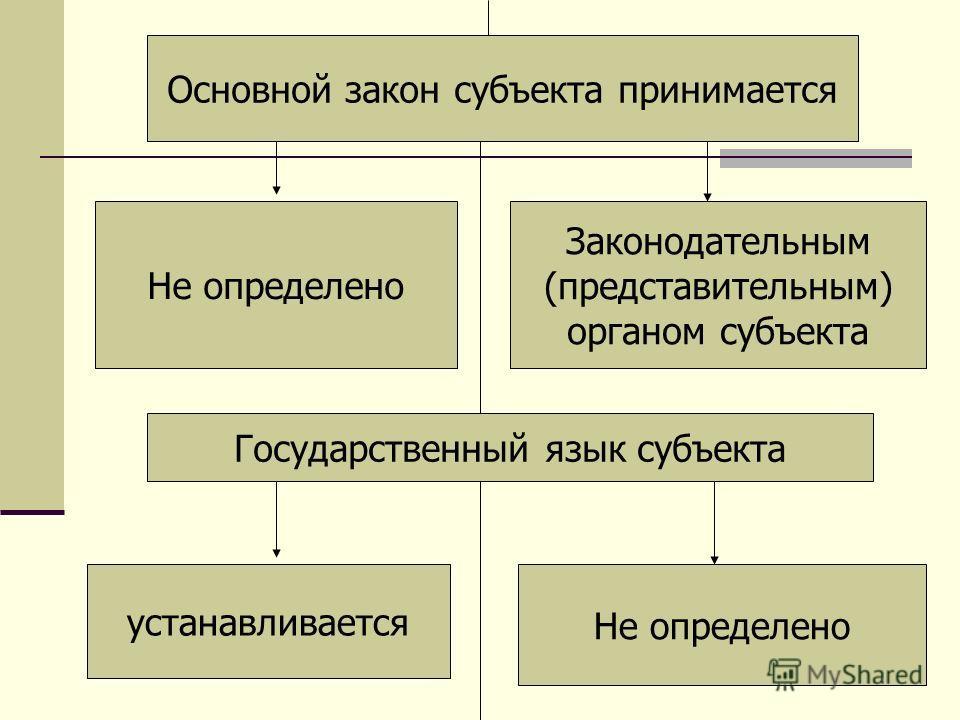 Основной закон субъекта принимается Не определено Законодательным (представительным) органом субъекта Государственный язык субъекта устанавливается Не определено