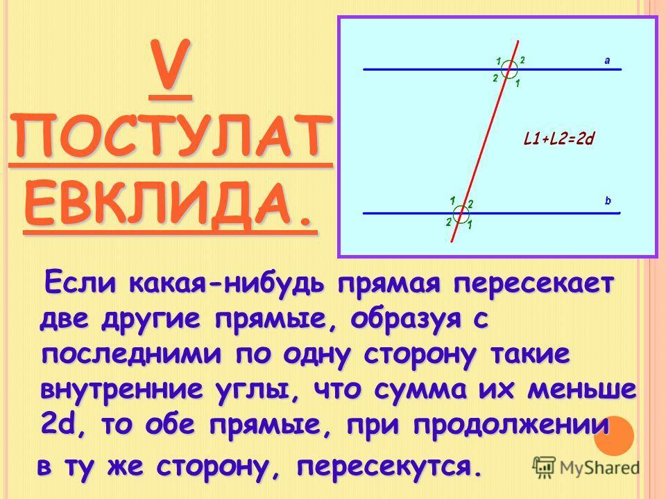 V ПОСТУЛАТ ЕВКЛИДА. Если какая-нибудь прямая пересекает две другие прямые, образуя с последними по одну сторону такие внутренние углы, что сумма их меньше 2d, то обе прямые, при продолжении Если какая-нибудь прямая пересекает две другие прямые, образ