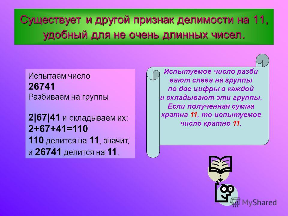 П ПП Признак делимости на 11. Число делится на 11,если разность суммы цифр, стоящих на нечетных местах, и суммы цифр, стоящих на четных местах, кратна 11 (разность может равняться 0, может быть и отрицатель- ным числом, но чтобы была кратным 11). Исп