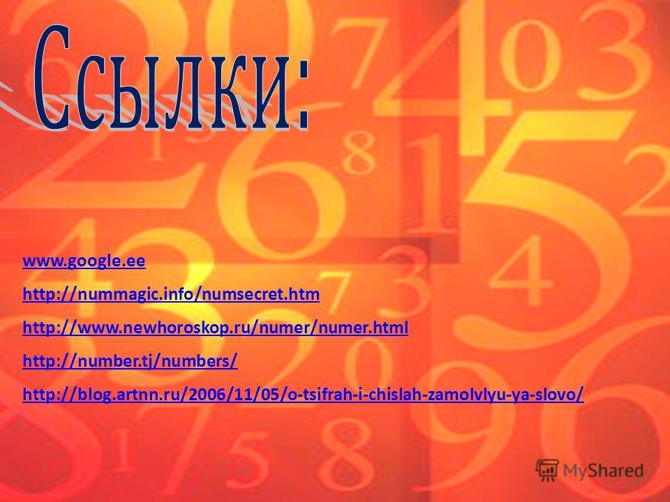 www.google.ee http://nummagic.info/numsecret.htm http://www.newhoroskop.ru/numer/numer.html http://number.tj/numbers/ http://blog.artnn.ru/2006/11/05/o-tsifrah-i-chislah-zamolvlyu-ya-slovo/