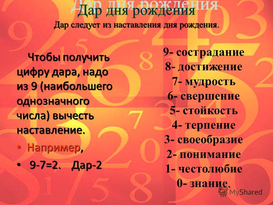 Чтобы получить цифру дара, надо из 9 (наибольшего однозначного числа) вычесть наставление. Чтобы получить цифру дара, надо из 9 (наибольшего однозначного числа) вычесть наставление. Например, Например, 9-7=2. Дар-2 9-7=2. Дар-2 Дар следует из наставл