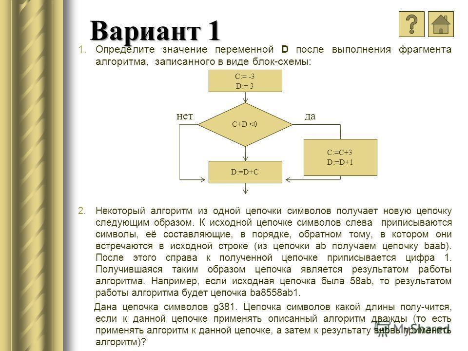 Вариант 1 1.Определите значение переменной D после выполнения фрагмента алгоритма, записанного в виде блок-схемы: 2.Некоторый алгоритм из одной цепочки символов получает новую цепочку следующим образом. К исходной цепочке символов слева приписываются