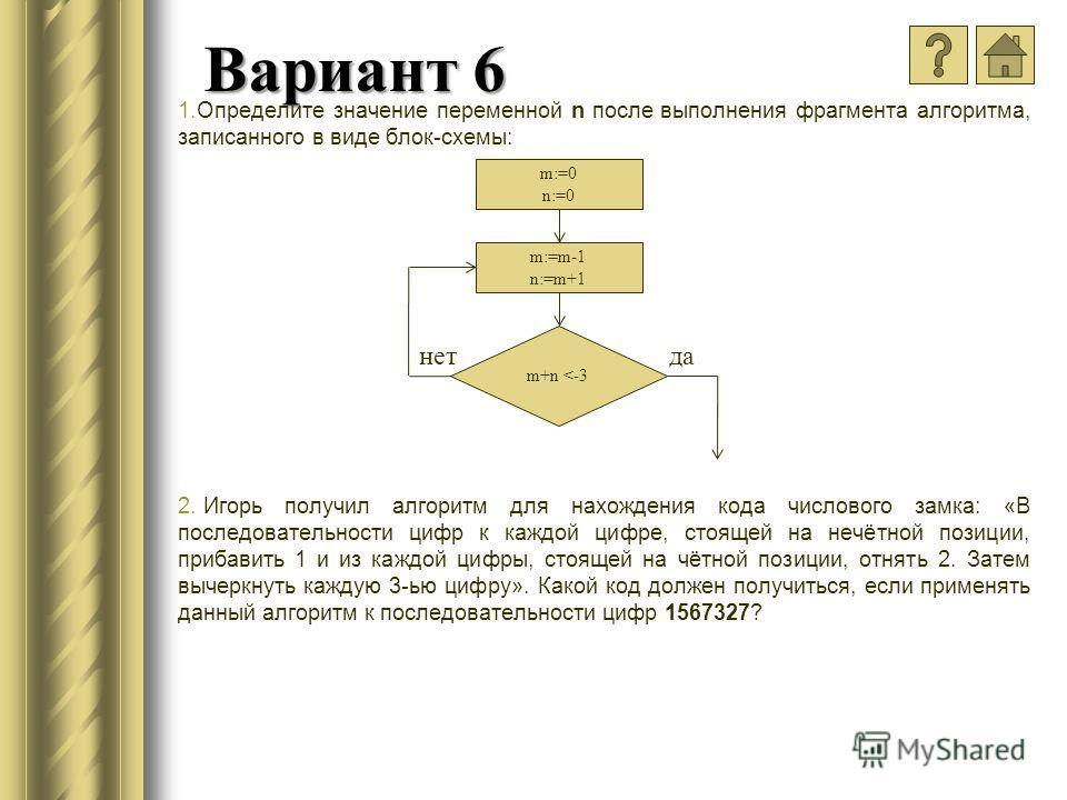 Вариант 6 1.Определите значение переменной n после выполнения фрагмента алгоритма, записанного в виде блок-схемы: 2. Игорь получил алгоритм для нахождения кода числового замка: «В последовательности цифр к каждой цифре, стоящей на нечётной позиции, п