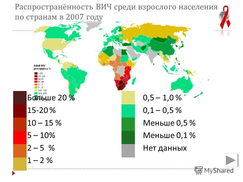 Распространённость ВИЧ среди взрослого населения по странам в 2007 году Больше 20 % 15-20 % 10 – 15 % 5 – 10% 2 – 5 % 1 – 2 % 0,5 – 1,0 % 0,1 – 0,5 % Меньше 0,5 % Меньше 0,1 % Нет данных