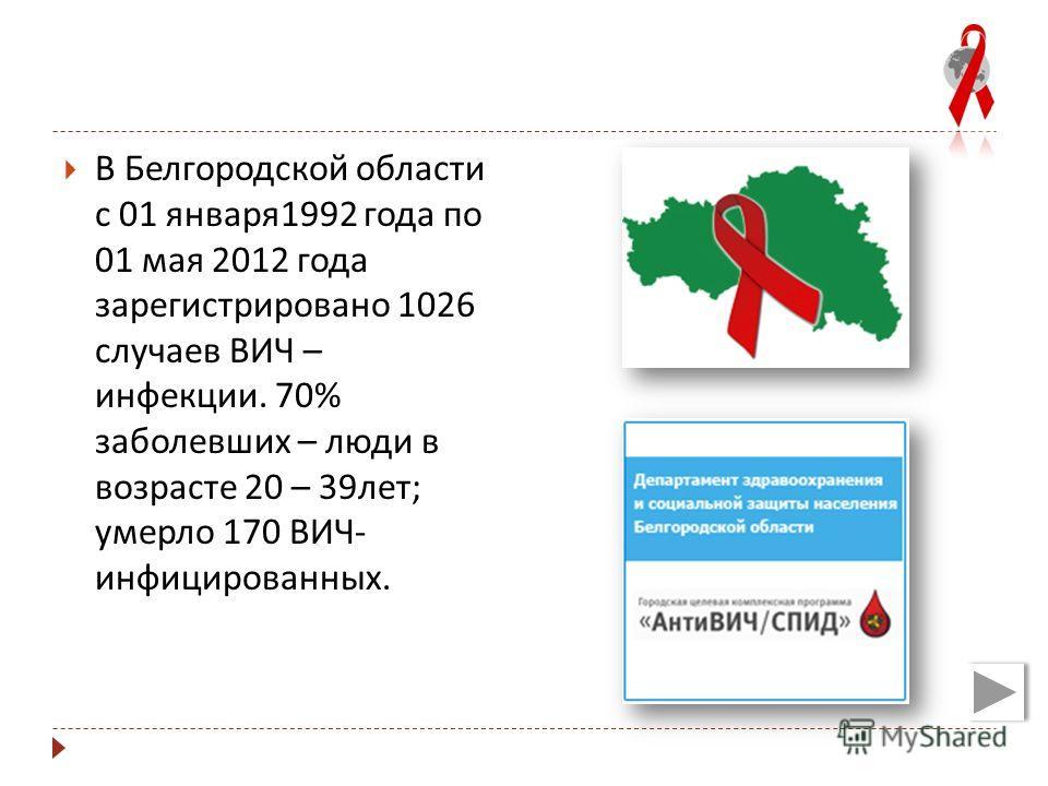 В Белгородской области с 01 января 1992 года по 01 мая 2012 года зарегистрировано 1026 случаев ВИЧ – инфекции. 70% заболевших – люди в возрасте 20 – 39 лет ; умерло 170 ВИЧ - инфицированных.