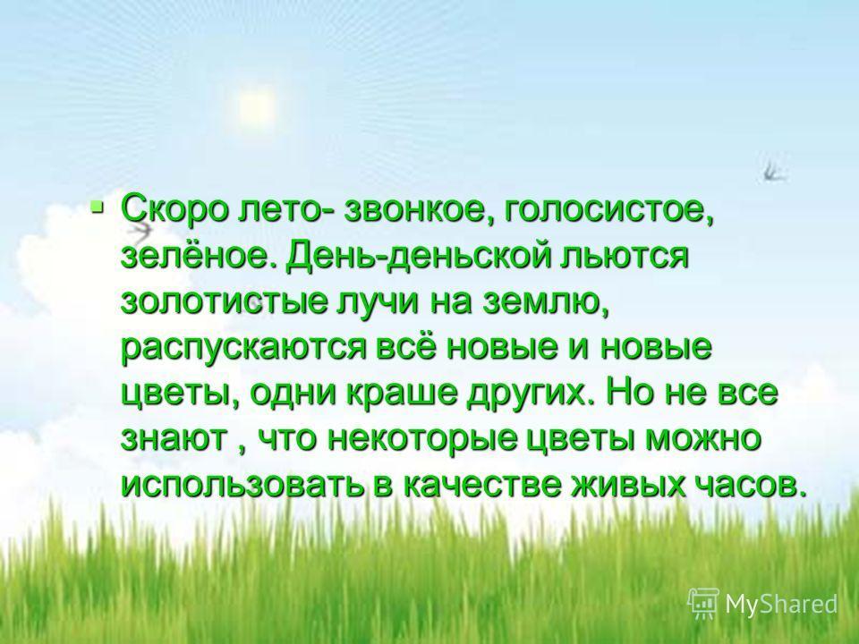 Скоро лето- звонкое, голосистое, зелёное. День-деньской льются золотистые лучи на землю, распускаются всё новые и новые цветы, одни краше других. Но не все знают, что некоторые цветы можно использовать в качестве живых часов. Скоро лето- звонкое, гол