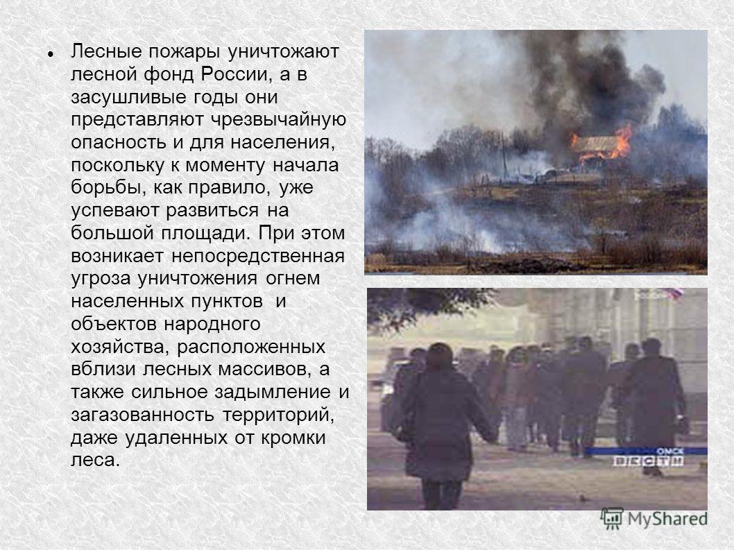 Лесные пожары уничтожают лесной фонд России, а в засушливые годы они представляют чрезвычайную опасность и для населения, поскольку к моменту начала борьбы, как правило, уже успевают развиться на большой площади. При этом возникает непосредственная у