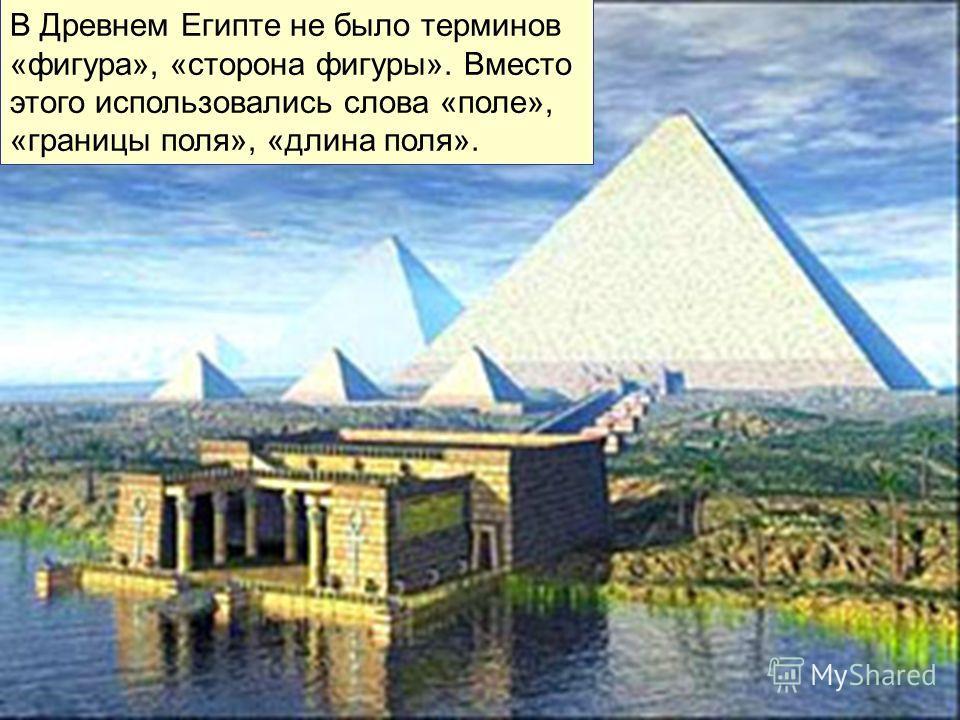 В Древнем Египте не было терминов «фигура», «сторона фигуры». Вместо этого использовались слова «поле», «границы поля», «длина поля».