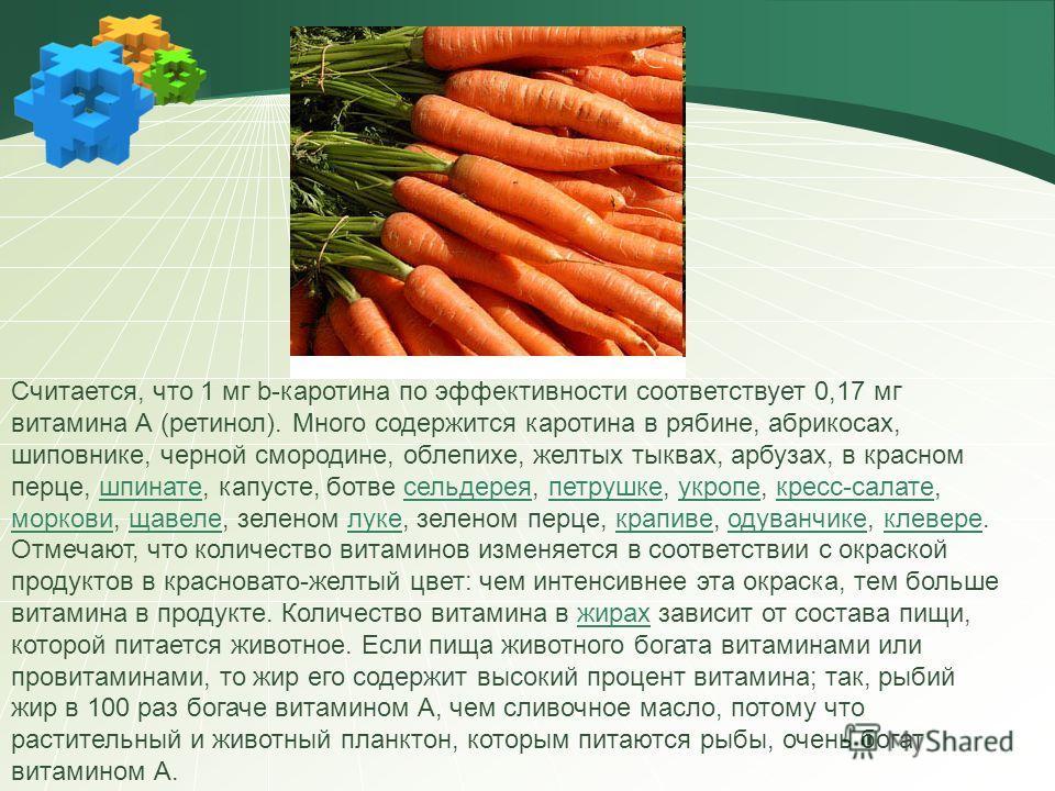 Считается, что 1 мг b-каротина по эффективности соответствует 0,17 мг витамина А (ретинол). Много содержится каротина в рябине, абрикосах, шиповнике, черной смородине, облепихе, желтых тыквах, арбузах, в красном перце, шпинате, капусте, ботве сельдер