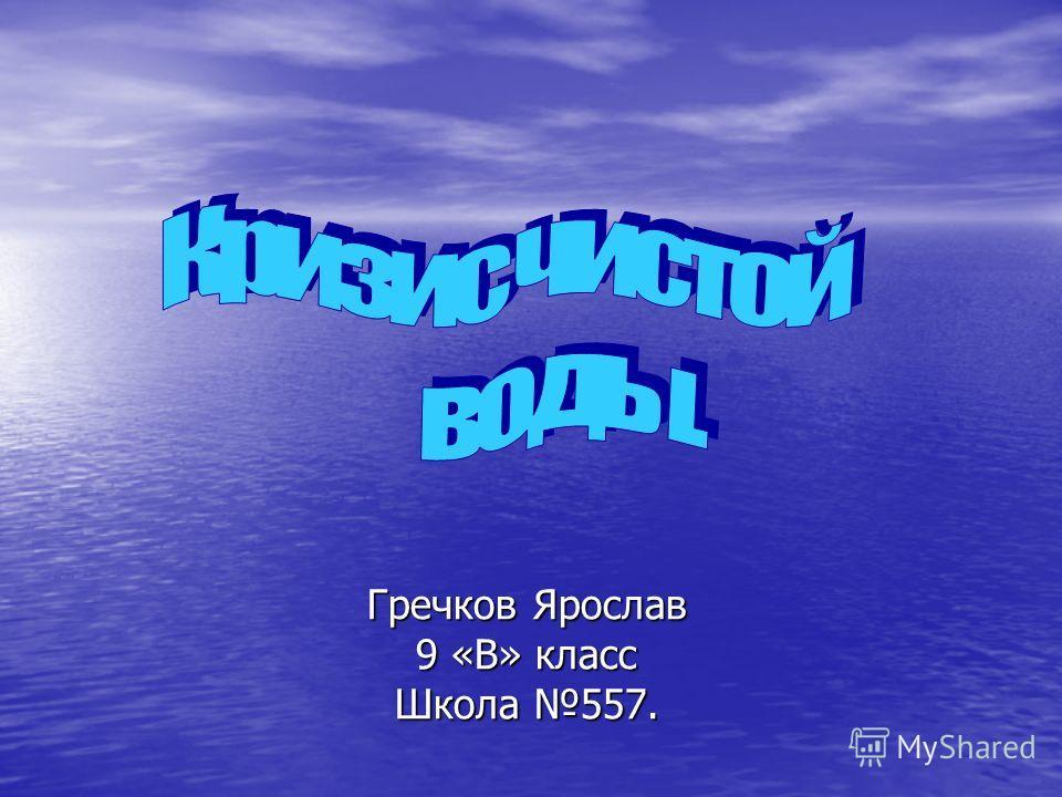 Гречков Ярослав 9 «В» класс Школа 557.